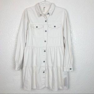 NWT Free People Tiered Denim Jacket in Ecru size M